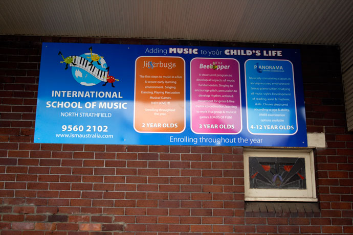 Music School building signage
