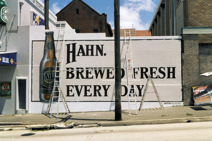 HAHN signwriting on building